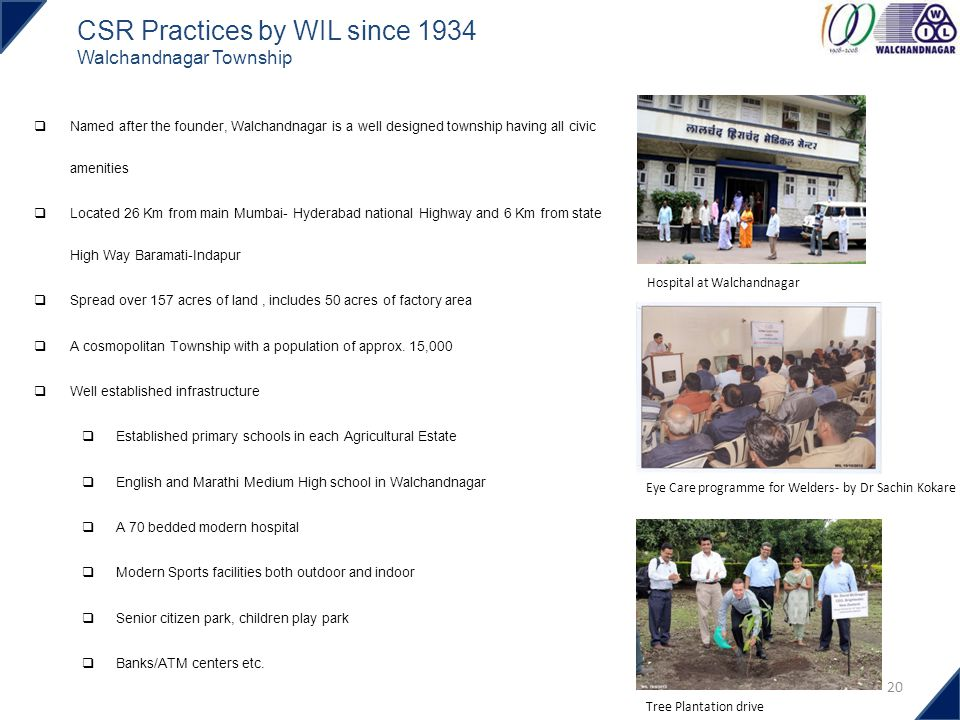 CSR Practices by WIL since 1934 Walchandnagar Township