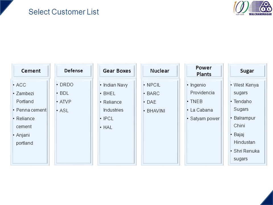 Select Customer List Cement Gear Boxes Nuclear Power Plants Sugar