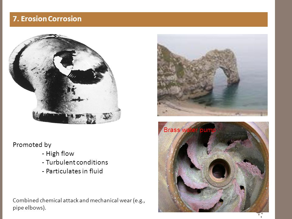 7. Erosion Corrosion Promoted by - High flow - Turbulent conditions