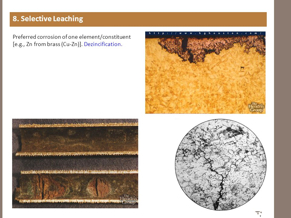 8. Selective Leaching Preferred corrosion of one element/constituent