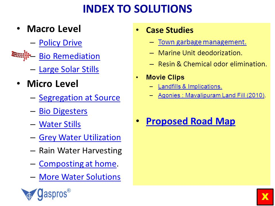 INDEX TO SOLUTIONS Macro Level Micro Level Proposed Road Map