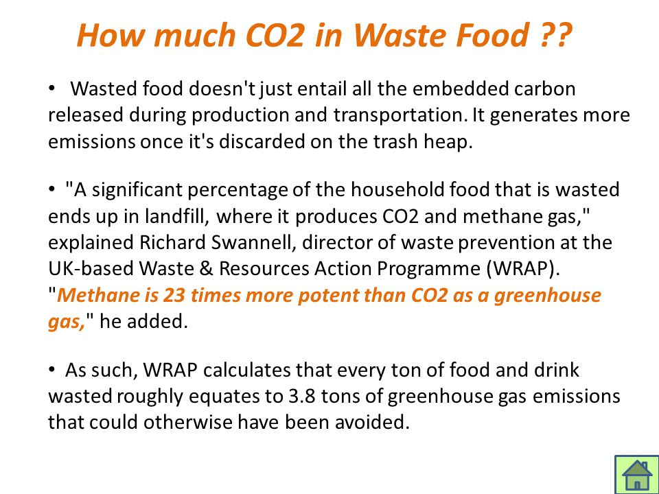 How much CO2 in Waste Food