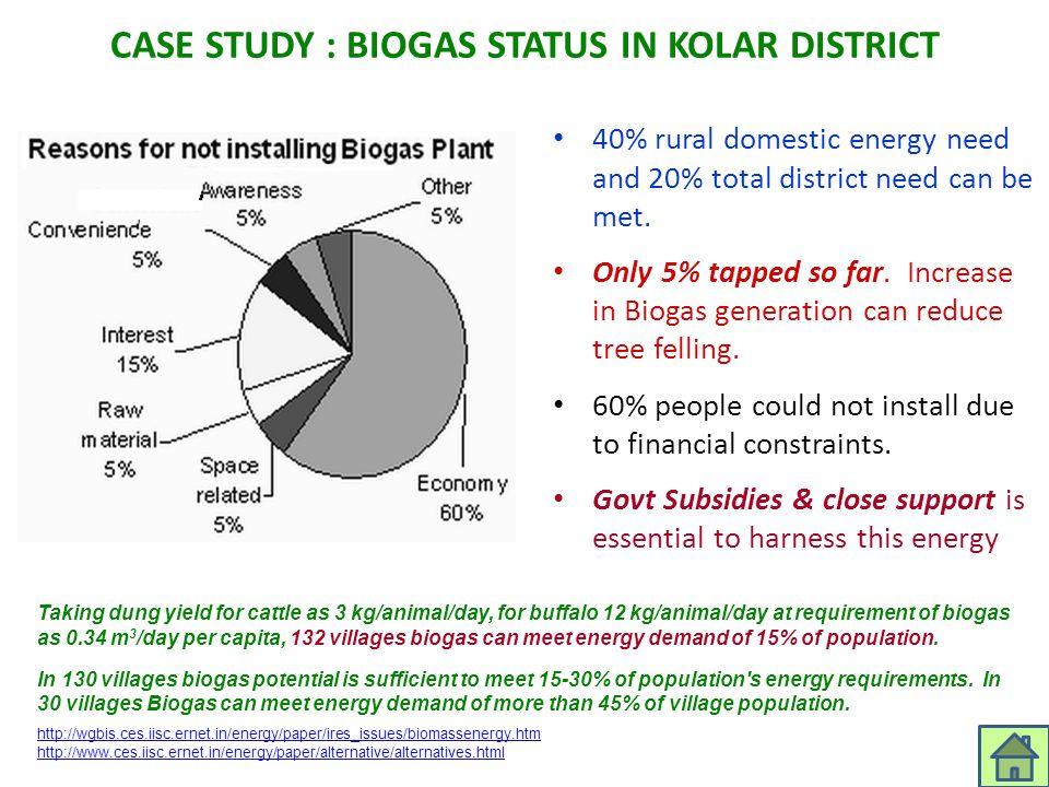 CASE STUDY : BIOGAS STATUS IN KOLAR DISTRICT