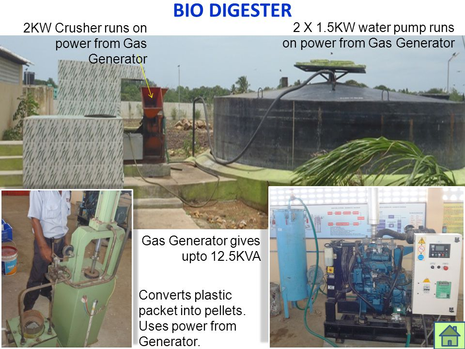 BIO DIGESTER 2KW Crusher runs on power from Gas Generator