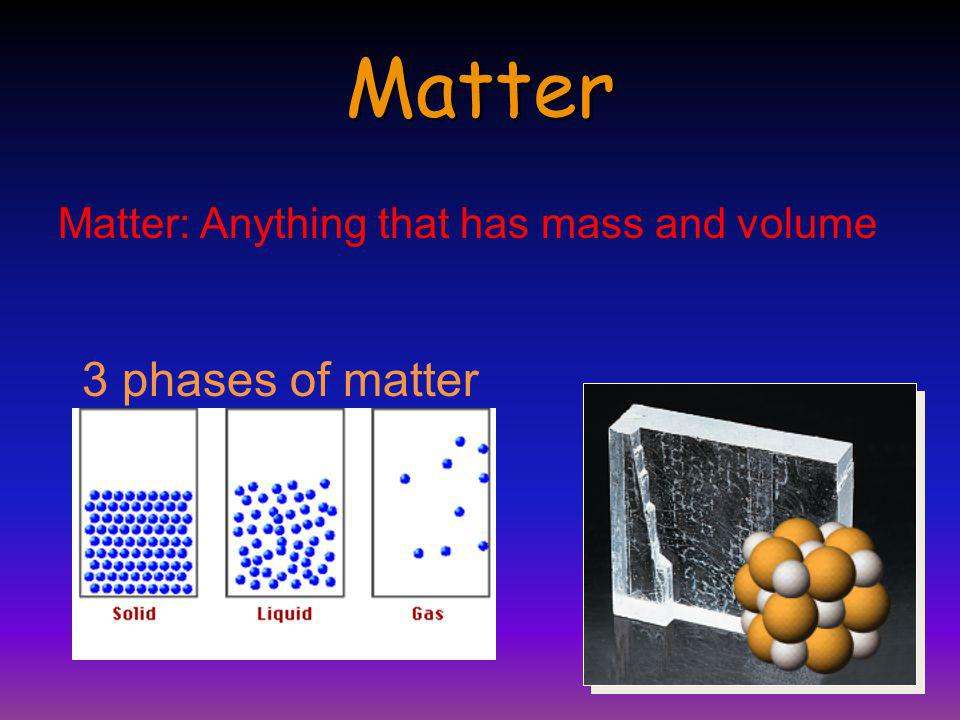 Matter Matter: Anything that has mass and volume 3 phases of matter