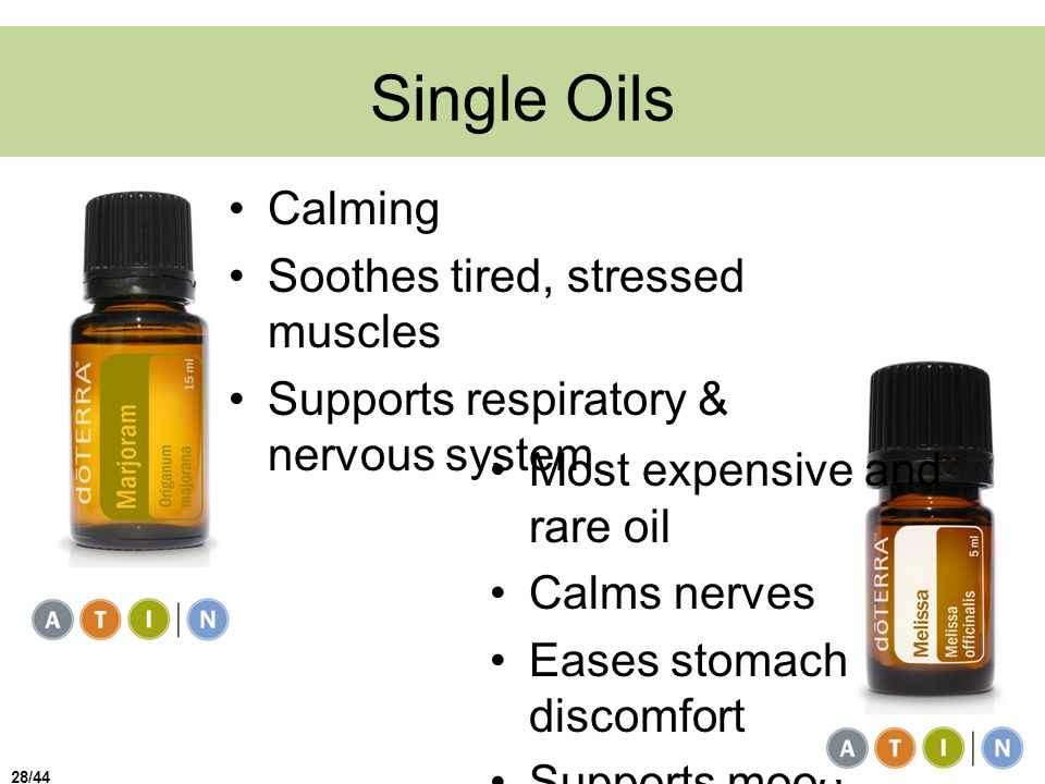 Single Oils Calming Soothes tired, stressed muscles