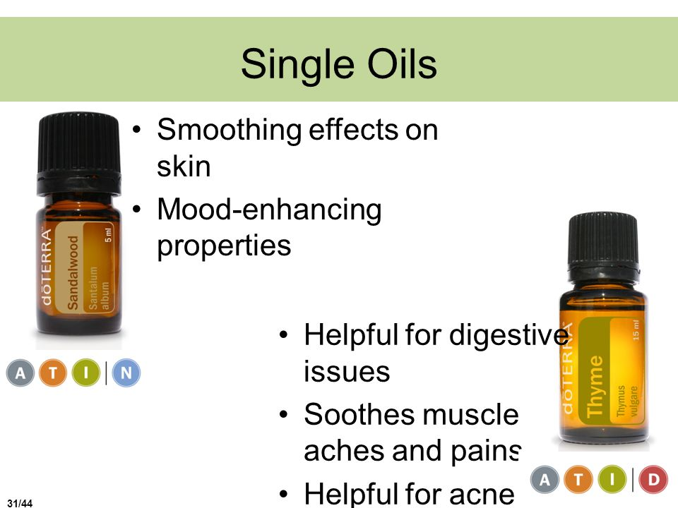 Single Oils Smoothing effects on skin Mood-enhancing properties