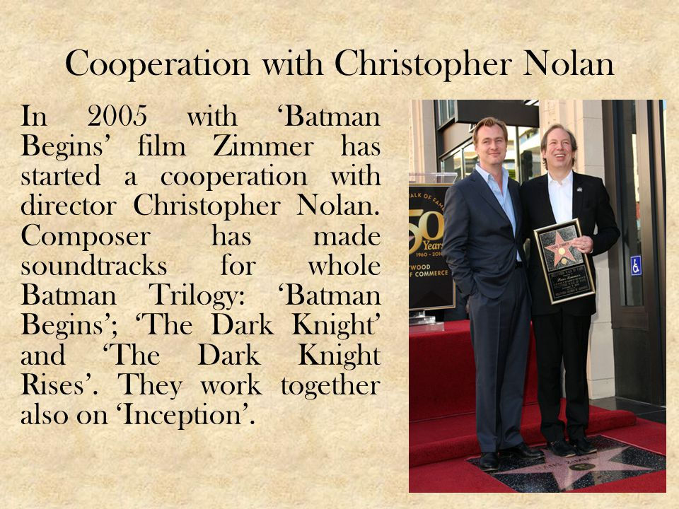 Cooperation with Christopher Nolan