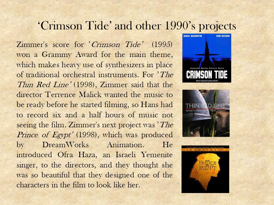 'Crimson Tide' and other 1990's projects