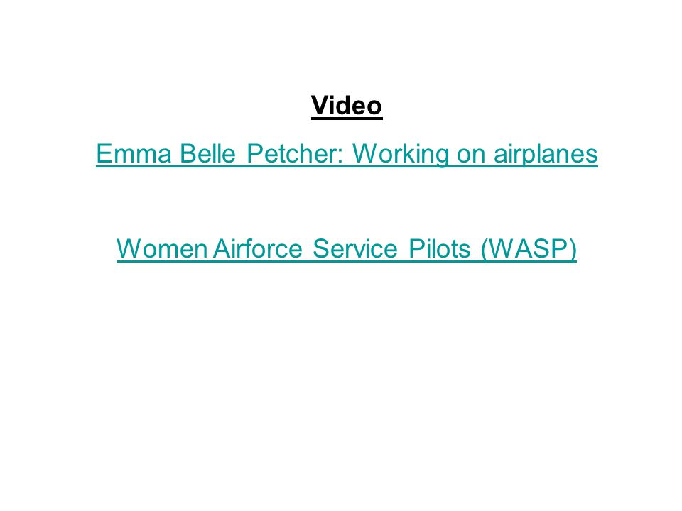 Emma Belle Petcher: Working on airplanes