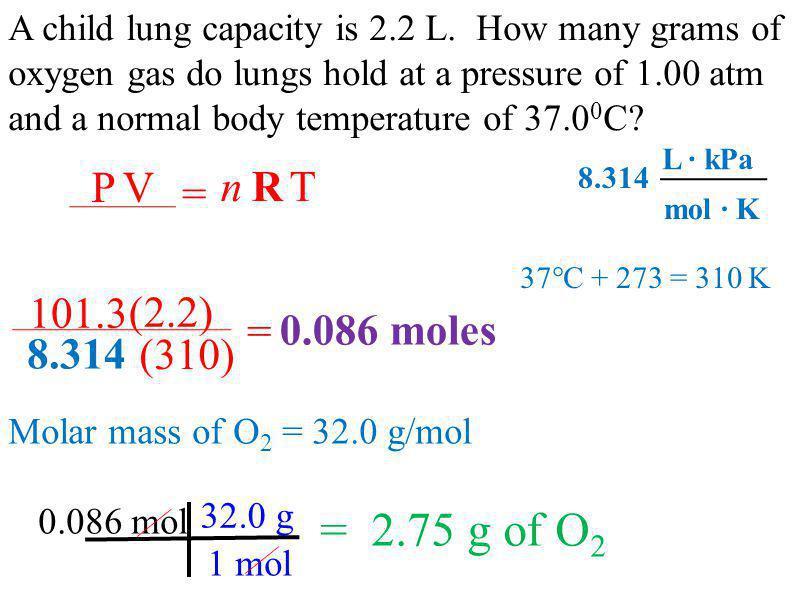 = 2.75 g of O2 = P V n R T = 101.3 (2.2) 0.086 moles 8.314 (310)