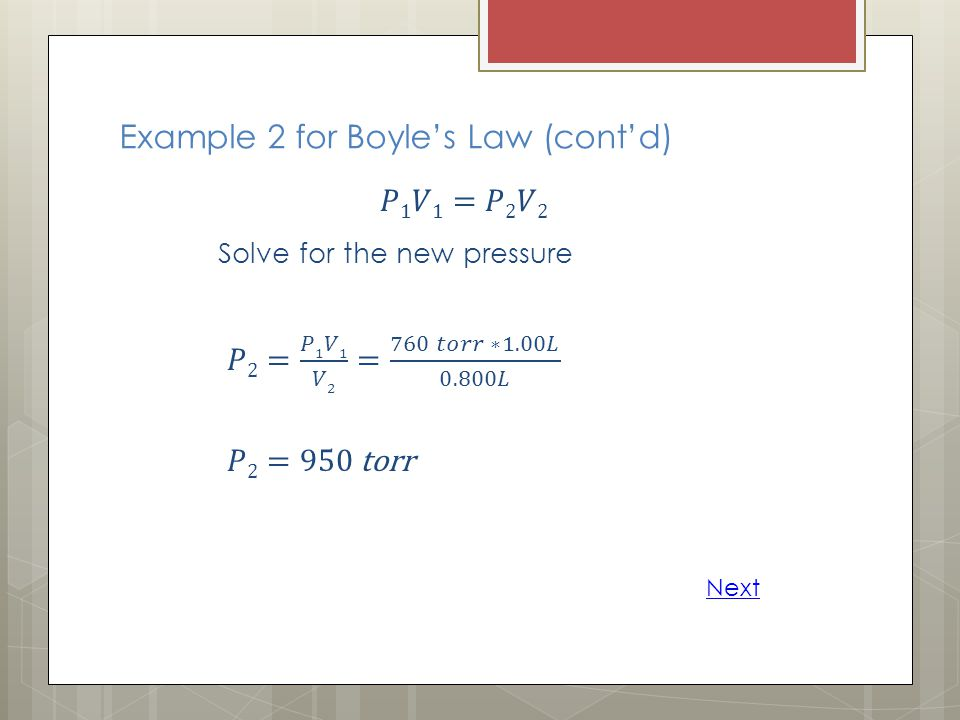Example 2 for Boyle's Law (cont'd)