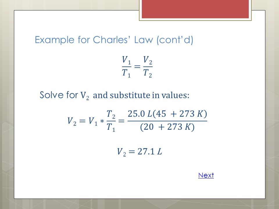 Example for Charles' Law (cont'd)