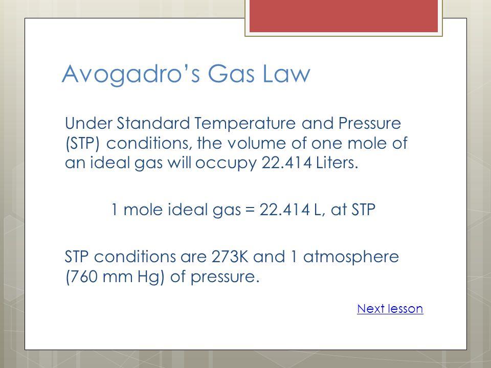 Avogadro's Gas Law