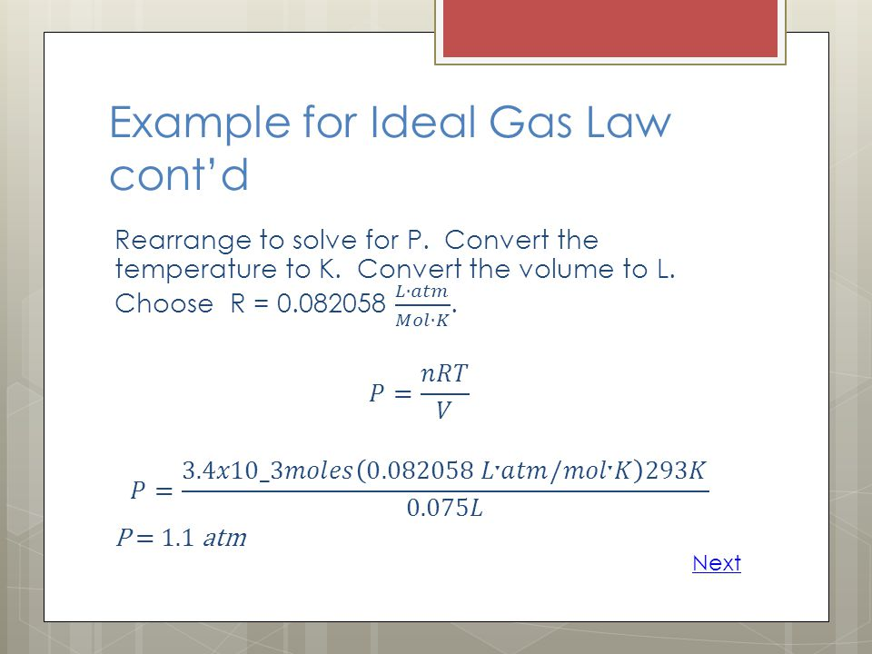 Example for Ideal Gas Law cont'd