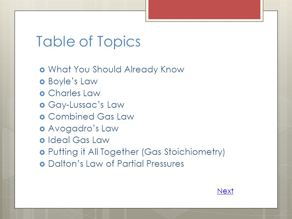 Table of Topics What You Should Already Know Boyle's Law Charles Law