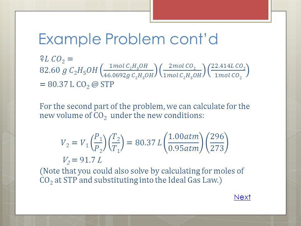 Example Problem cont'd
