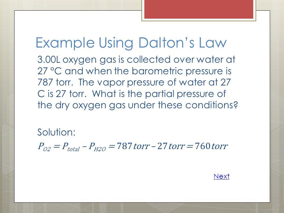 Example Using Dalton's Law