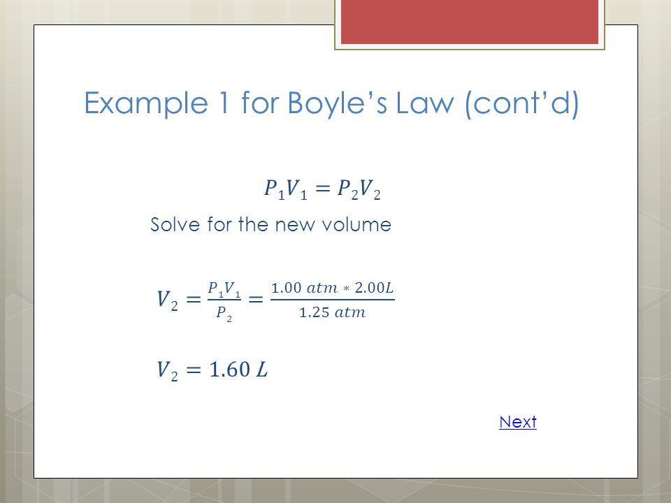 Example 1 for Boyle's Law (cont'd)