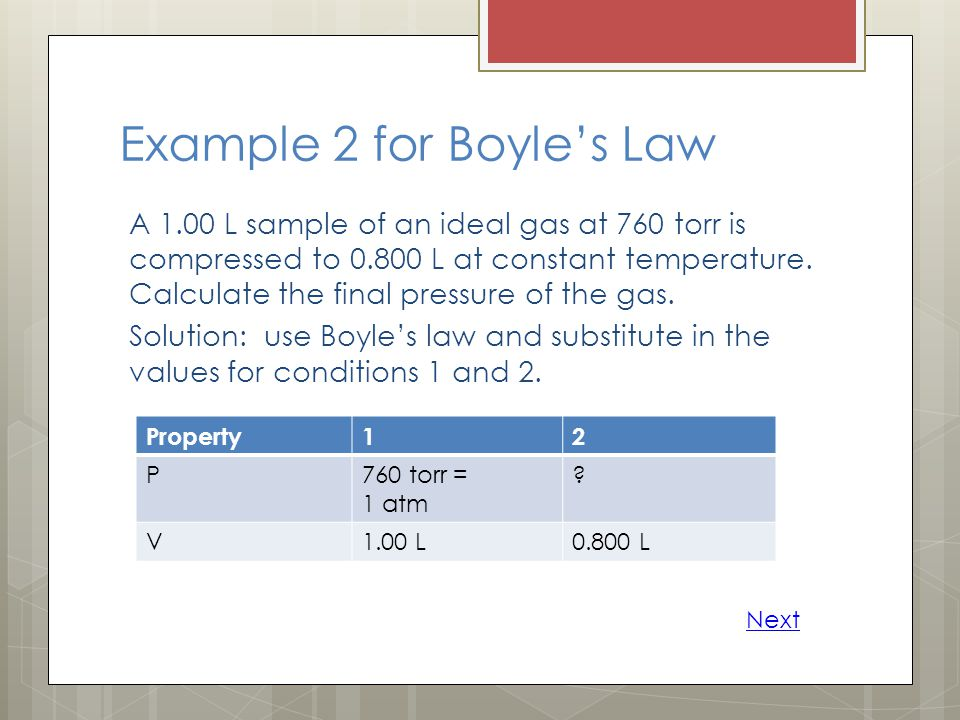 Example 2 for Boyle's Law