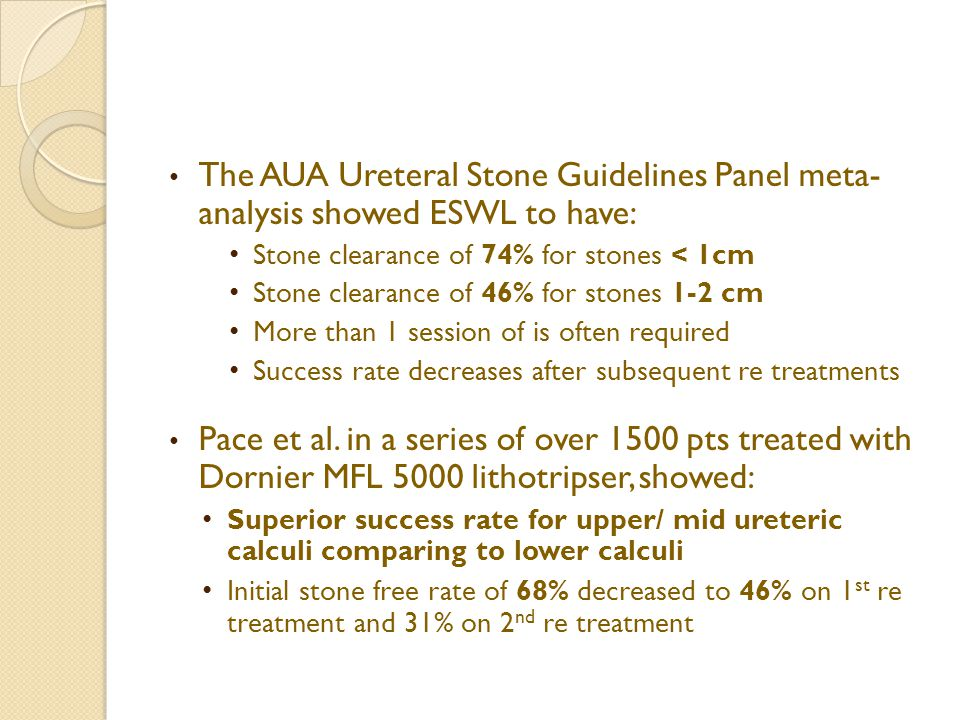 The AUA Ureteral Stone Guidelines Panel meta- analysis showed ESWL to have: