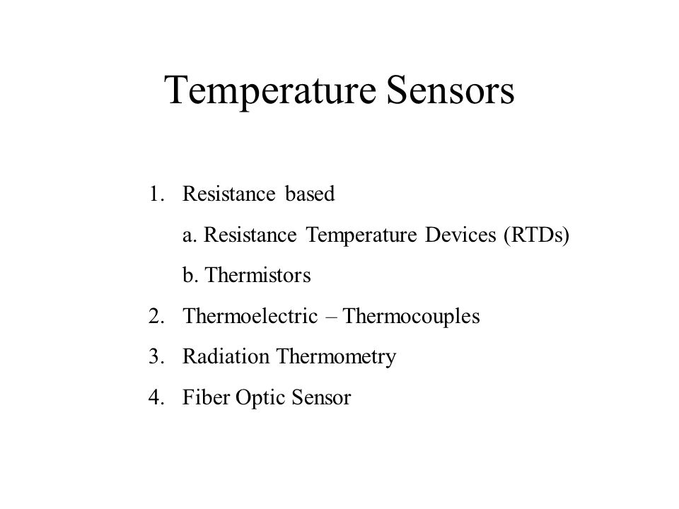 Temperature Sensors Resistance based