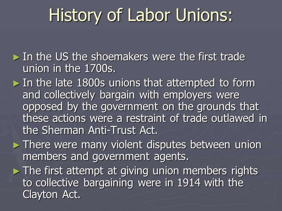 History of Labor Unions: