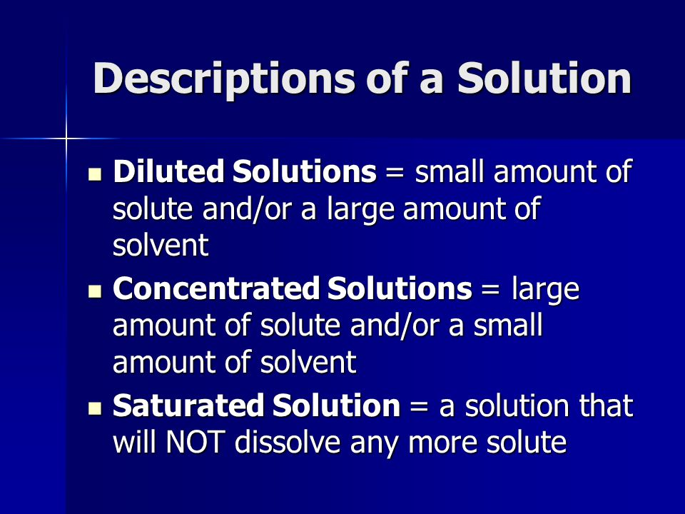 Descriptions of a Solution