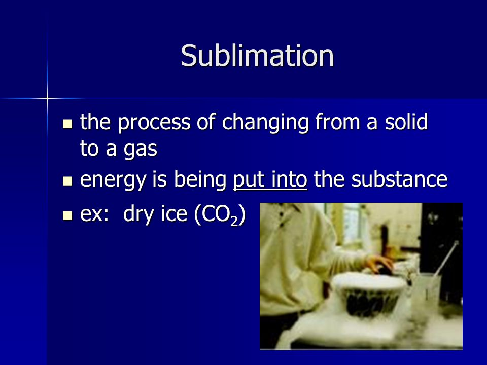 Sublimation the process of changing from a solid to a gas