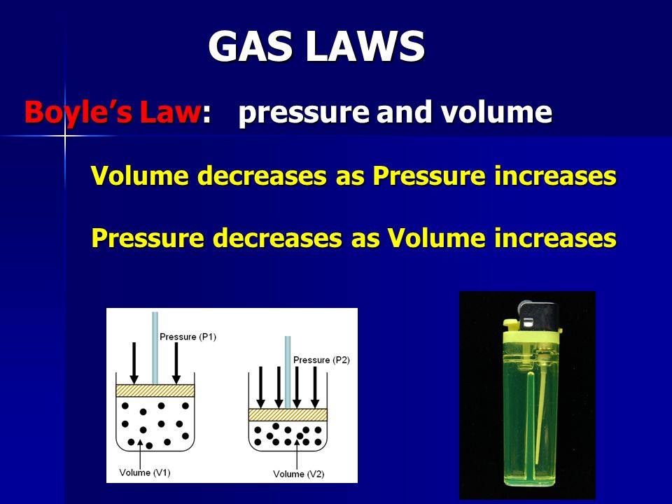GAS LAWS Boyle's Law: pressure and volume