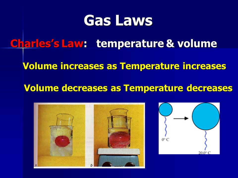 Gas Laws Charles's Law: temperature & volume