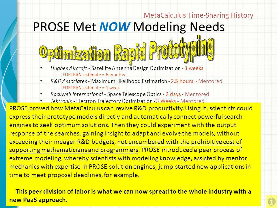 PROSE Met NOW Modeling Needs