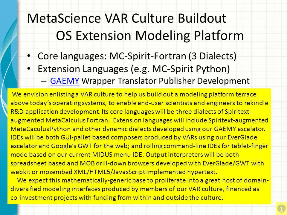 MetaScience VAR Culture Buildout OS Extension Modeling Platform
