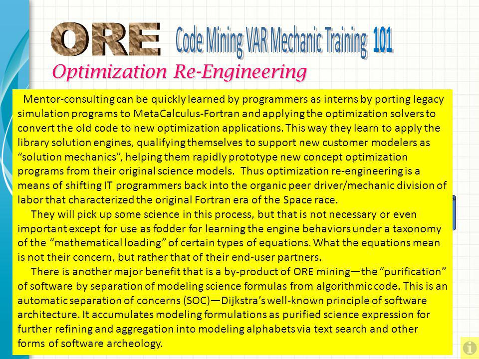 Optimization Re-Engineering