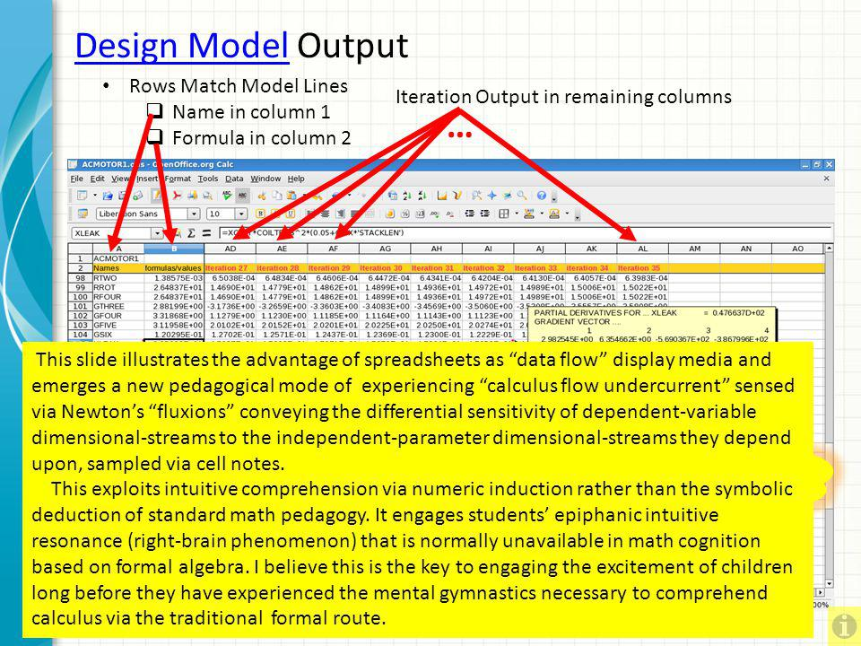 Design Model Output … Rows Match Model Lines Name in column 1