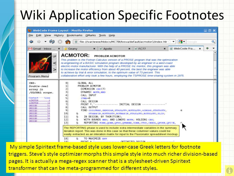 Wiki Application Specific Footnotes