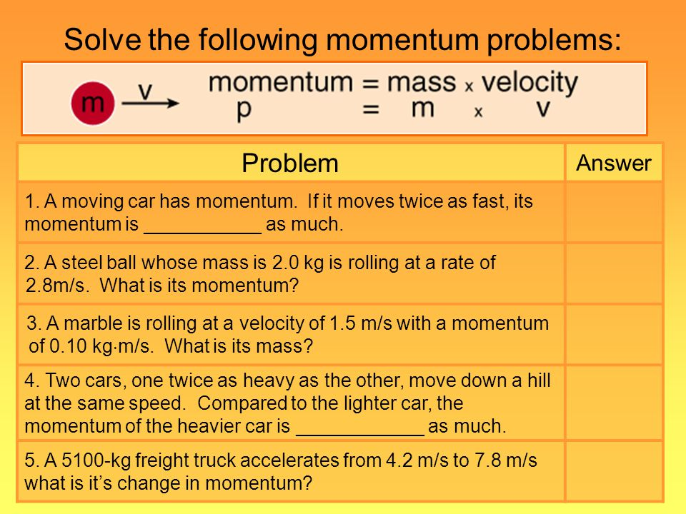 Solve the following momentum problems: