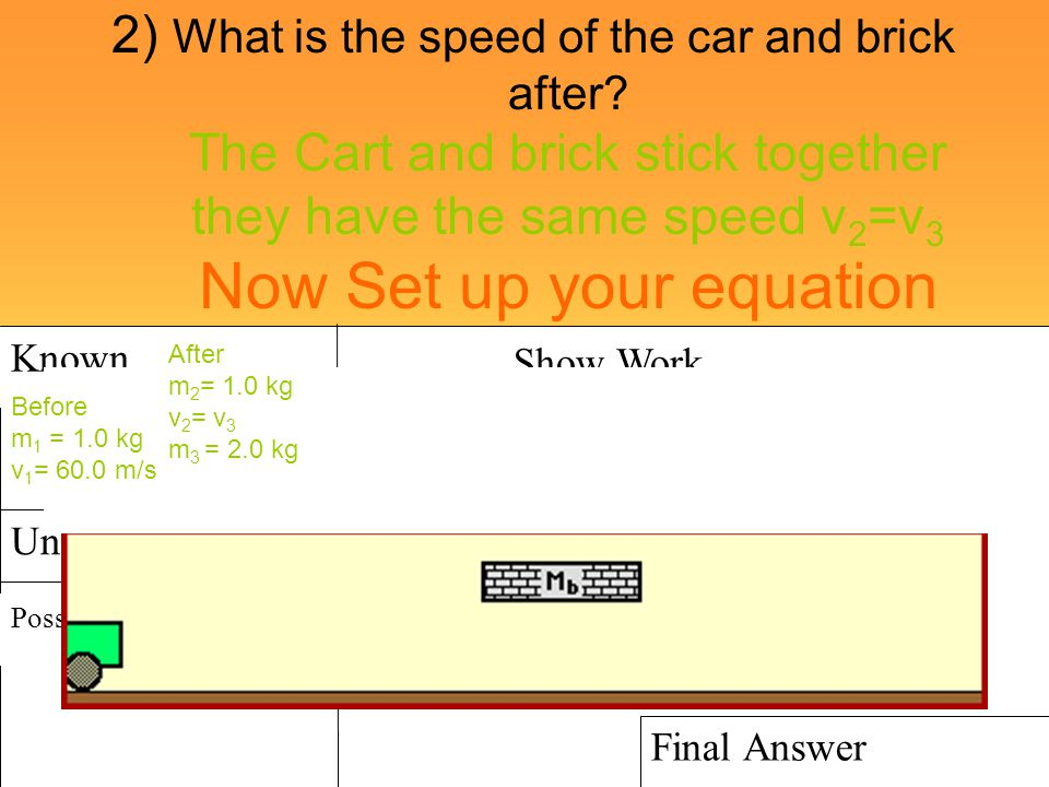 2) What is the speed of the car and brick after