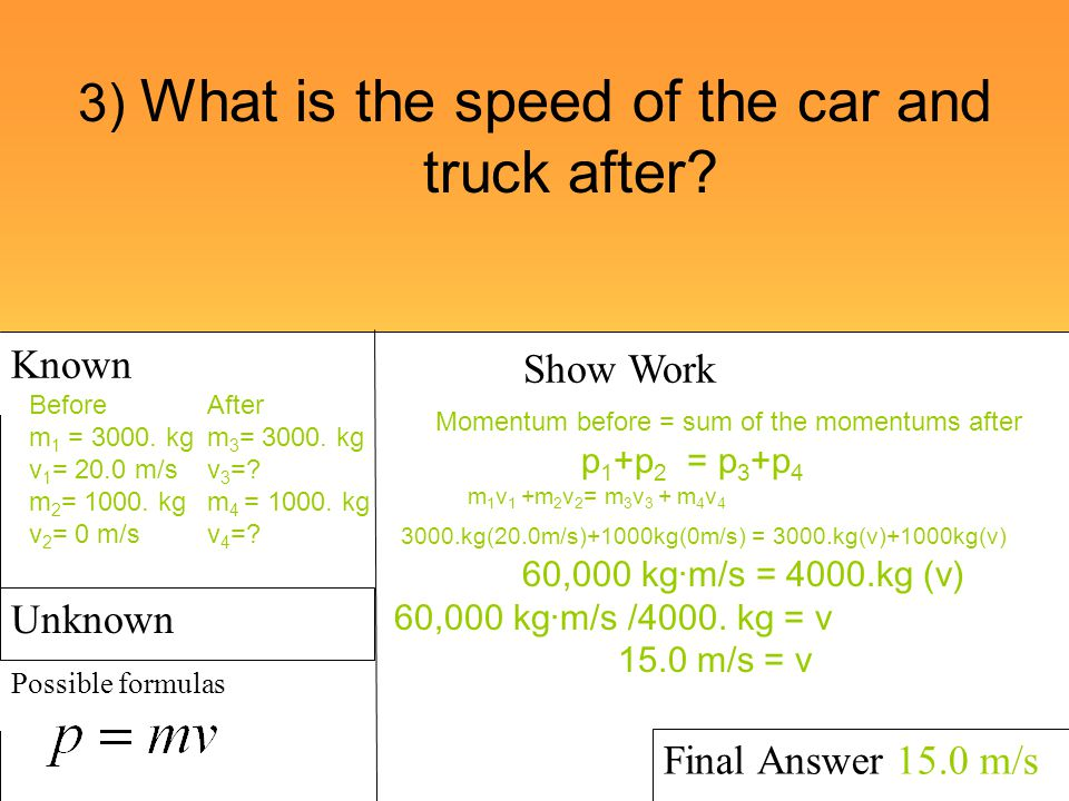 3) What is the speed of the car and truck after
