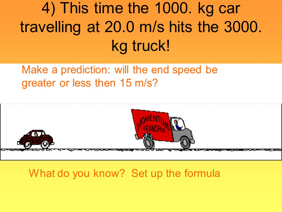 4) This time the 1000. kg car travelling at 20. 0 m/s hits the 3000