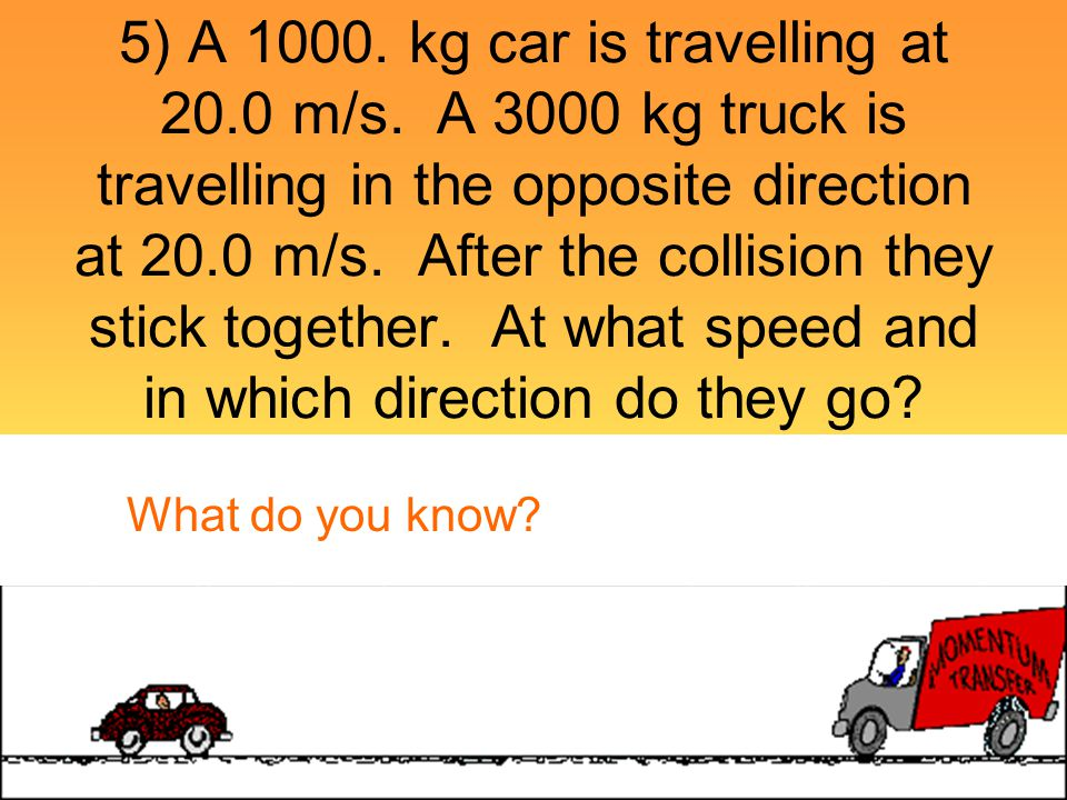 5) A kg car is travelling at m/s