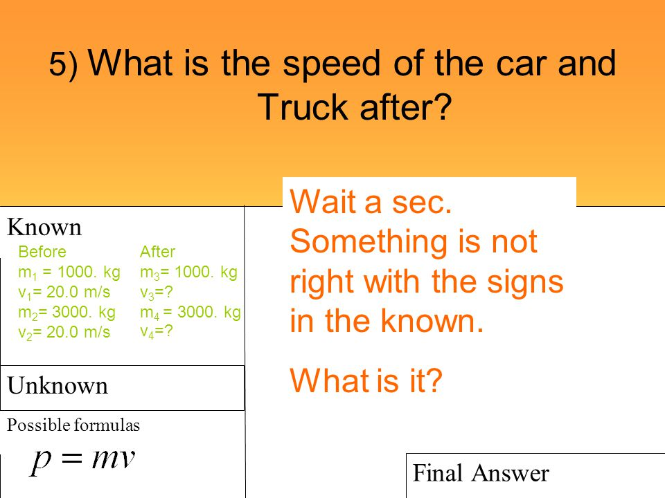 5) What is the speed of the car and Truck after