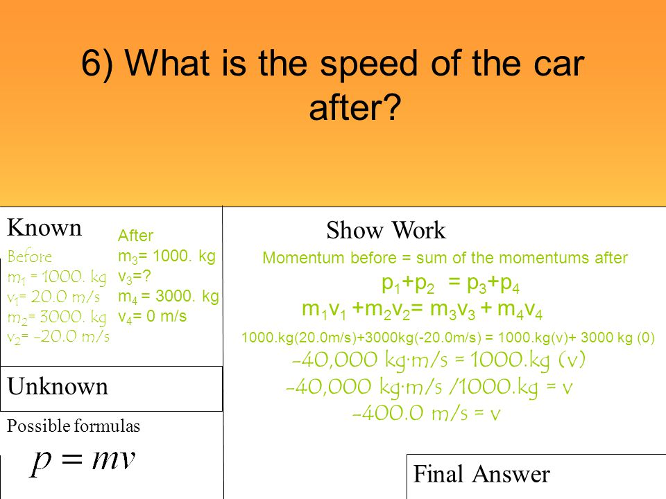 6) What is the speed of the car after