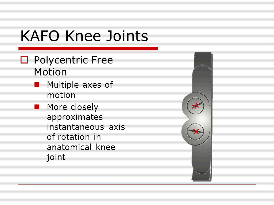 KAFO Knee Joints Polycentric Free Motion Multiple axes of motion