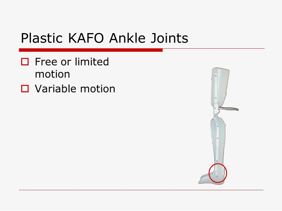 Plastic KAFO Ankle Joints