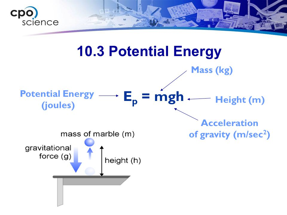 10.3 Potential Energy Ep = mgh Mass (kg) Potential Energy (joules)
