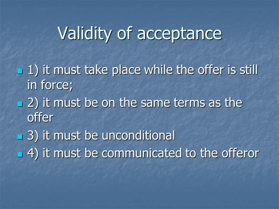 Validity of acceptance