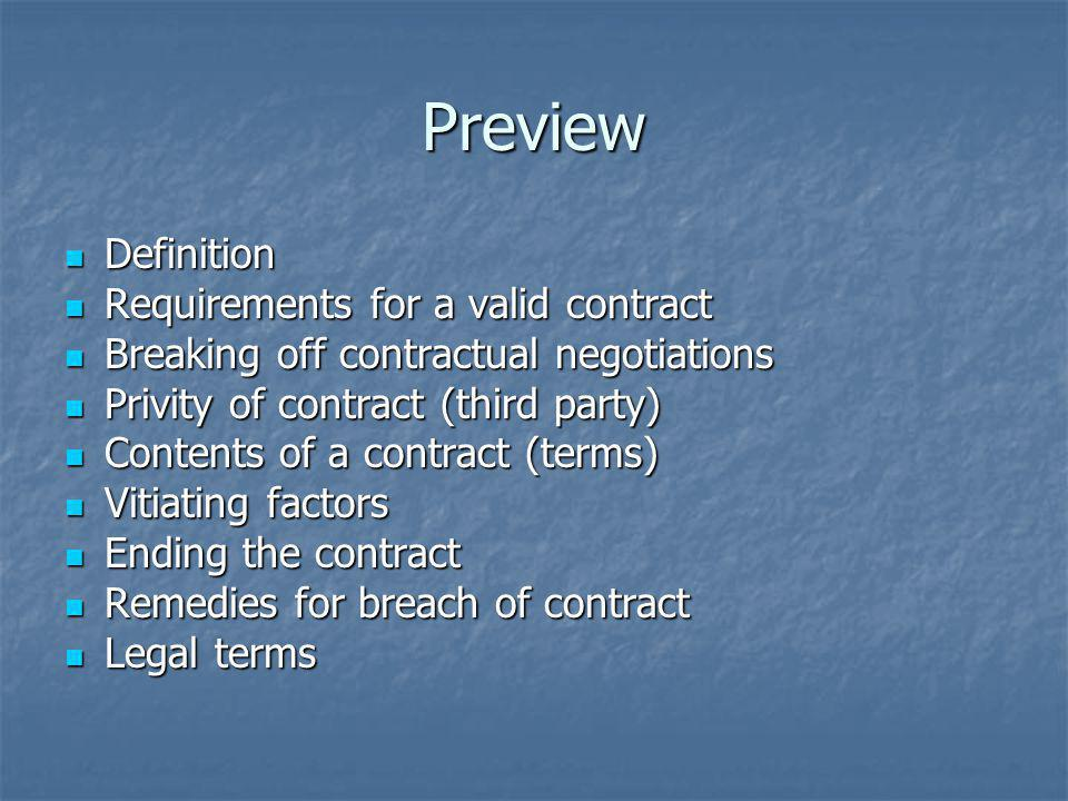 Preview Definition Requirements for a valid contract