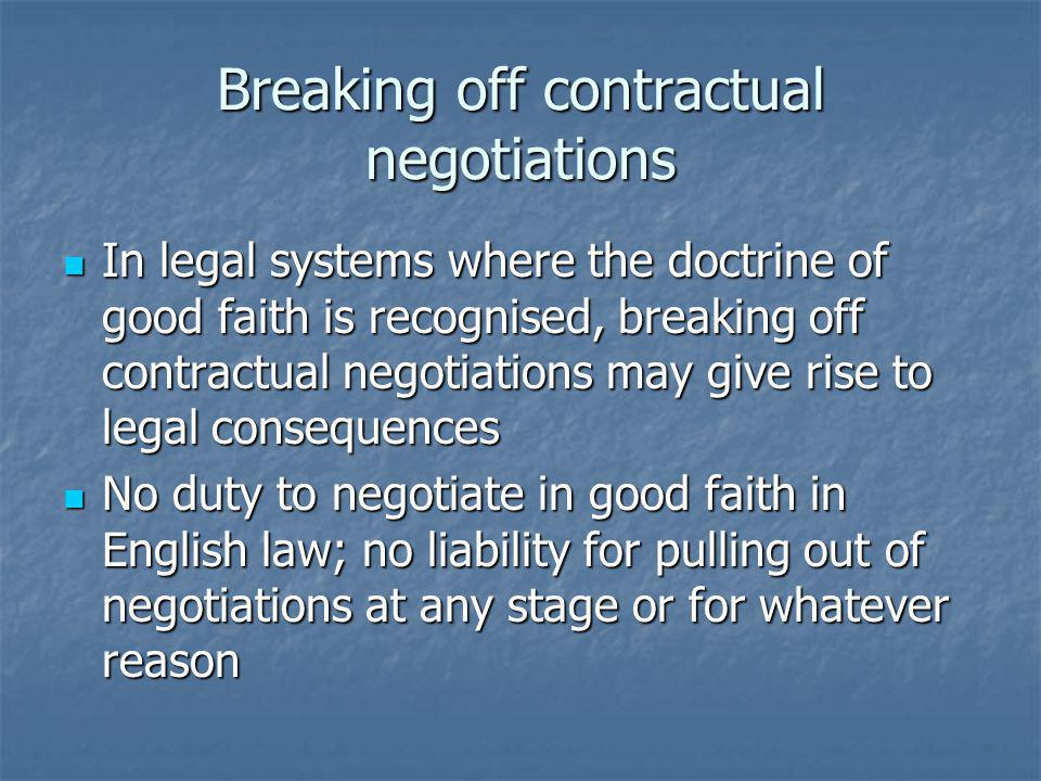 Breaking off contractual negotiations