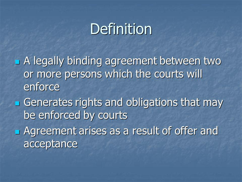 Definition A legally binding agreement between two or more persons which the courts will enforce.